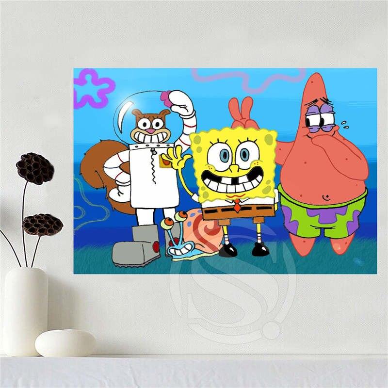 Custom canvas spongebob poster home decoration cloth fabric wall poster print Silk Fabric Print Free Shipping SQ0619-et36r75