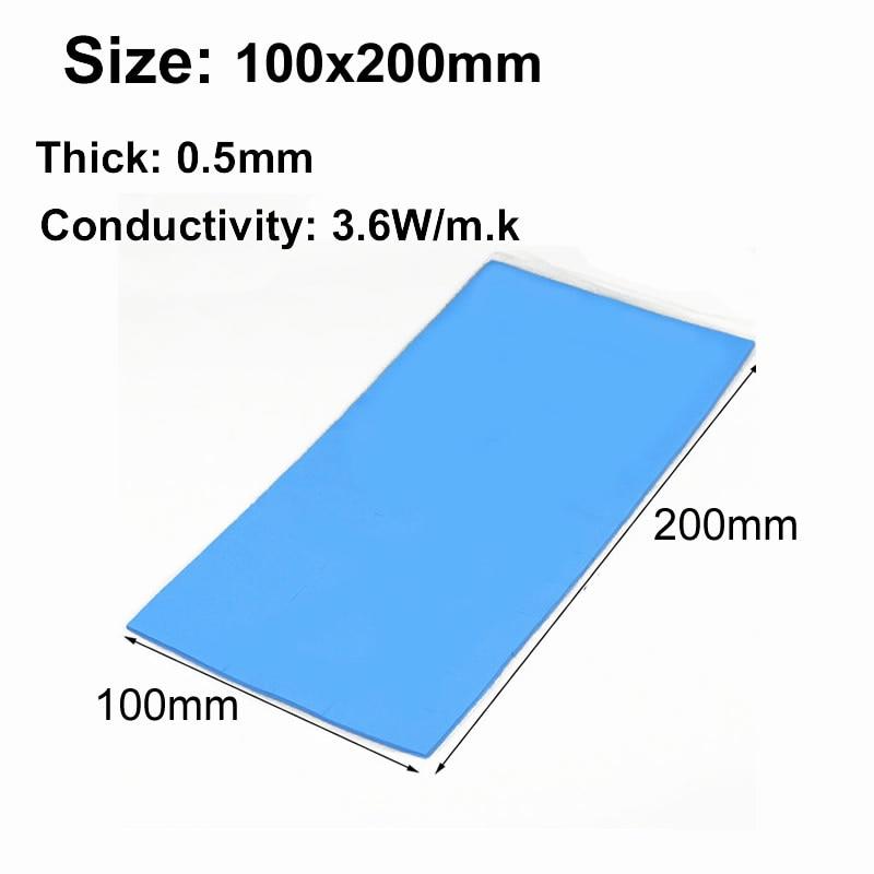 100mm * 200mm 3,6 Watt/m. k Hohe qualität Silikon Wärmeleitpad kühlkörper Cooling pads für CPU GPU VGA Chip CPU cooling pad