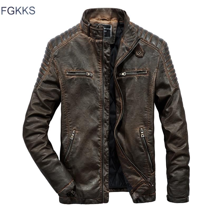FGKKS chaquetas de piel sintética para hombre, abrigos de invierno para hombre, abrigos cálidos de piel sintética, ropa para hombre, chaquetas de cuero para motocicleta, abrigos