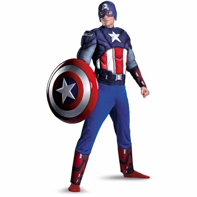 Adult Men Muscle Captain America Costume Superhero Party Cosplay Halloween Costumes for Men Super Man Fancy Dress