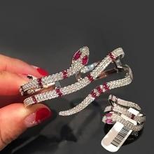 Fashion Full Zircon Animal Purple Eyes Snake Finger Ring Cuff Bangle Jewelry Set Charm Women Wedding Jewelry