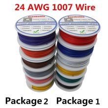 UL 1007 24AWG 6 couleurs 60 m/lot   Ligne de câble électrique P1 ou P2, fil de cuivre chromé PCB Certification UL, câble isolé