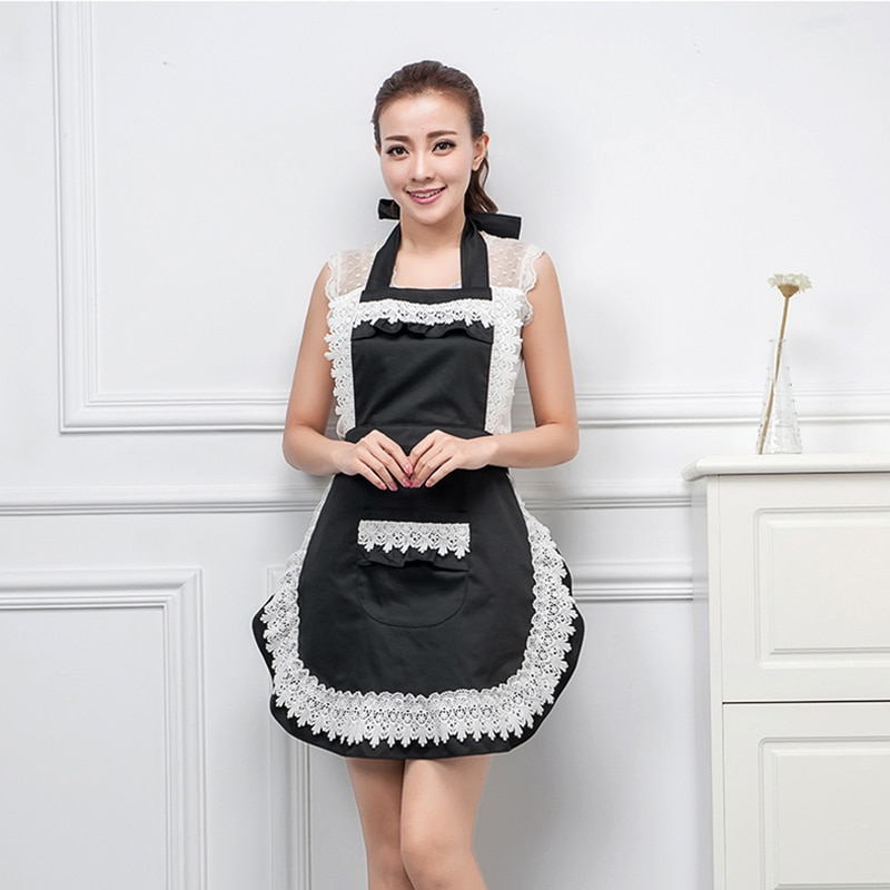 Woman Ladies Adult Retro Lace Maid Sexy Apron Dress Kitchen Household Waist Bib Cleaning BBQ Work Aprons Pink Black Red