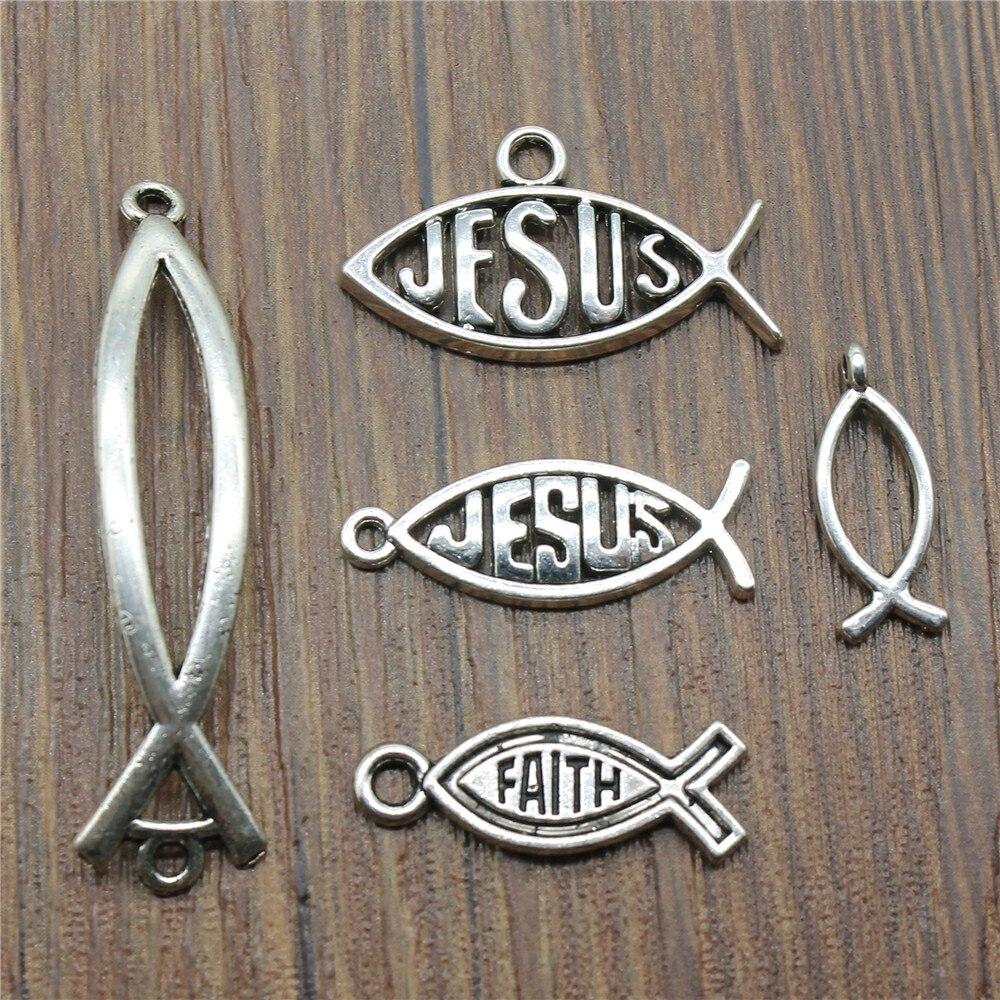 15pcs/lot Jesus Fish Charms Antique Silver Color Jesus Fish Charms Pendants For Bracelets Christian Fish Charms Making Jewelry