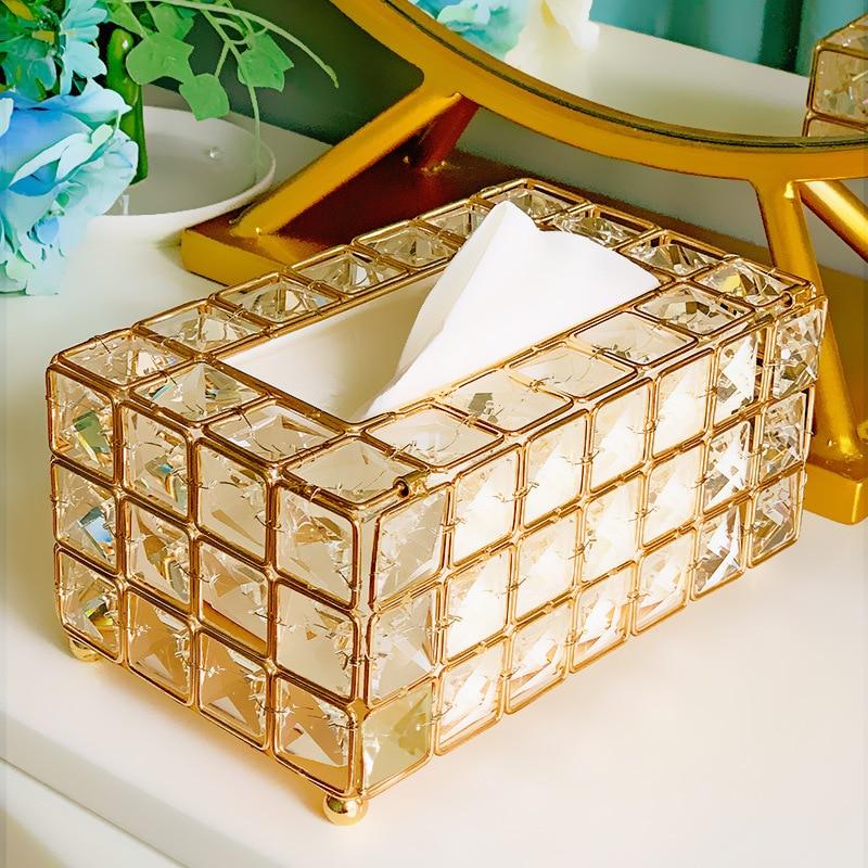 Caja de almacenamiento de caja de papel de cristal plateado de oro brillante para restaurante coche casa Hotel