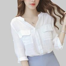 shintimes Pockets White Blouse Women 2019 Woman Blouses And Shirts For Ladies Tops Three Quarter V-Neck Korean Chemisier Femme