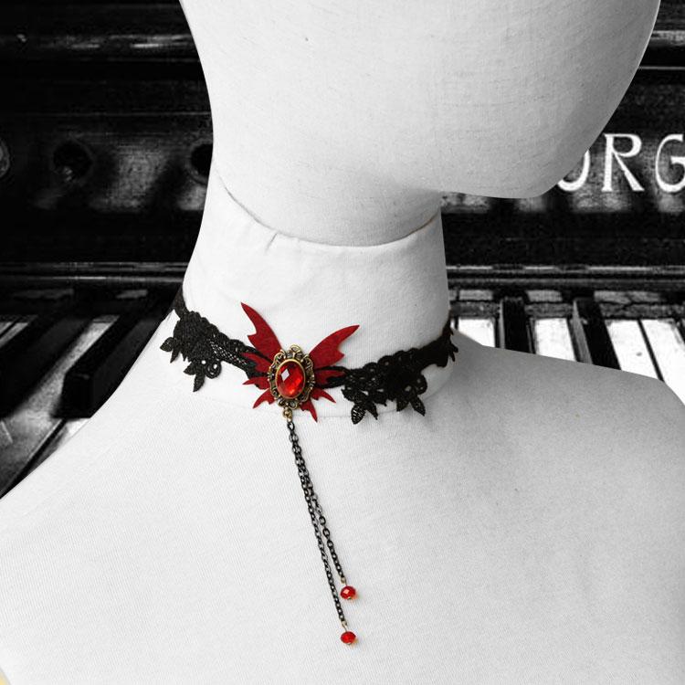 Collar gótico Lolita Vintage goths encaje negro con gema roja mariposa gargantilla cuello falso Cadena de collar corta JL-01