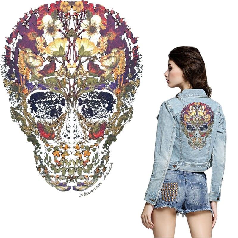 Parches de planchado con diseño de calavera y flor para ropa, calcomanía de fantasma, transferencia de calor para camisetas, jeans, mochilas, parches diy, ropa