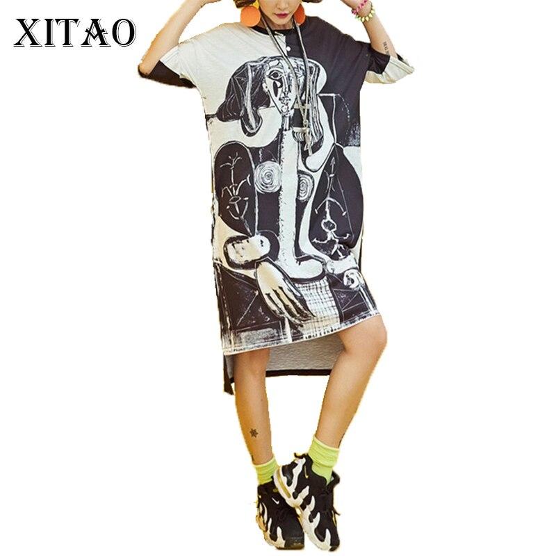 [XITAO] 2017 new summer Europe fashion street female oversize half sleeve print o-neck pullover loose knee-length dress KLN001
