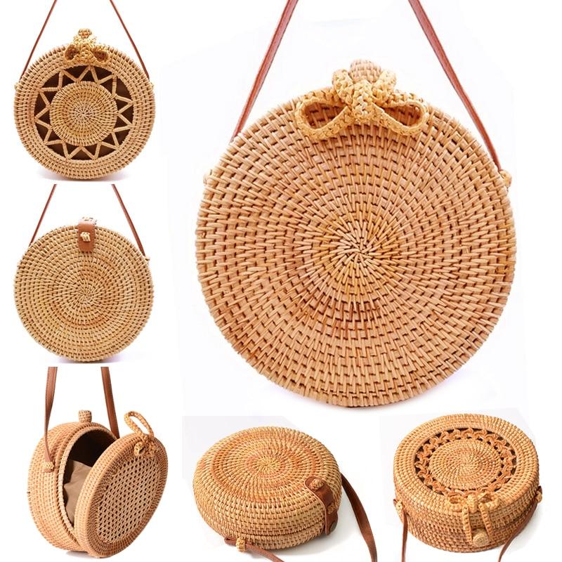 Новый Для женщин соломенная сумка ручной работы из ротанга круглый Богемия Стиль