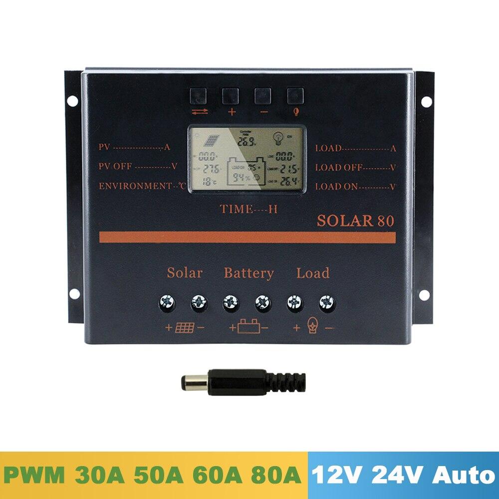 Y-SOLAR 30A 50A 60A 80A شاحن بالطاقة الشمسية تحكم 12V 24V السيارات شاشة الكريستال السائل PV شاحن منظم الطاقة الشمسية مع USB 5V الناتج S60 S80