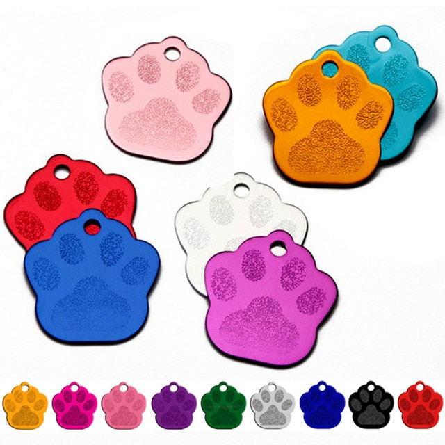 Оптовая продажа, 100 шт., 2 сторонних ярлыка в форме лапы для собак и кошек, идентификация кота, щенка, номер телефона, аксессуары для домашних ж...