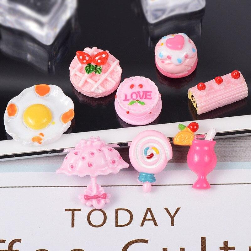 8 unids/set casa de muñecas miniatura cocina pasteles postre huevo piruleta pastelería