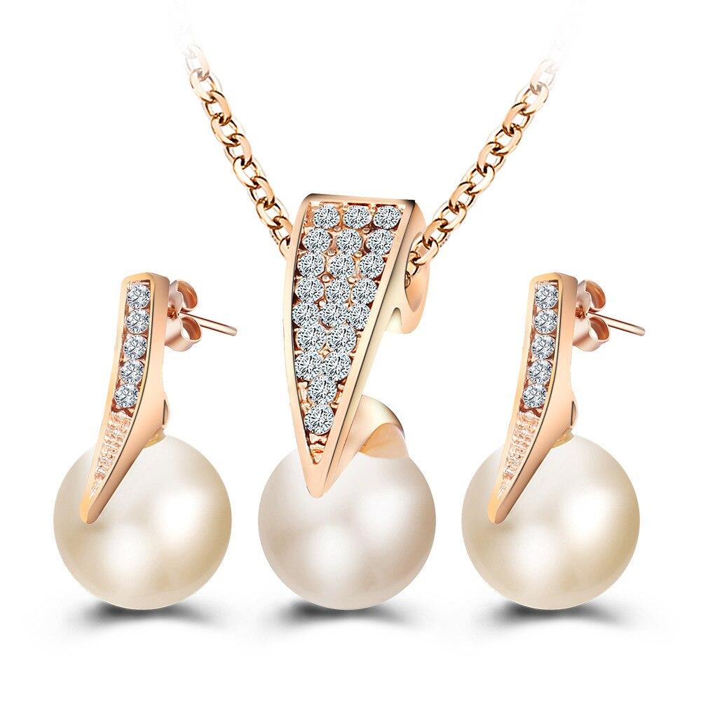 De moda de perla de imitación de juegos de joyas con diamante de imitación de Color oro conjuntos de collar para las mujeres de la Boda nupcial pendientes gota de agua