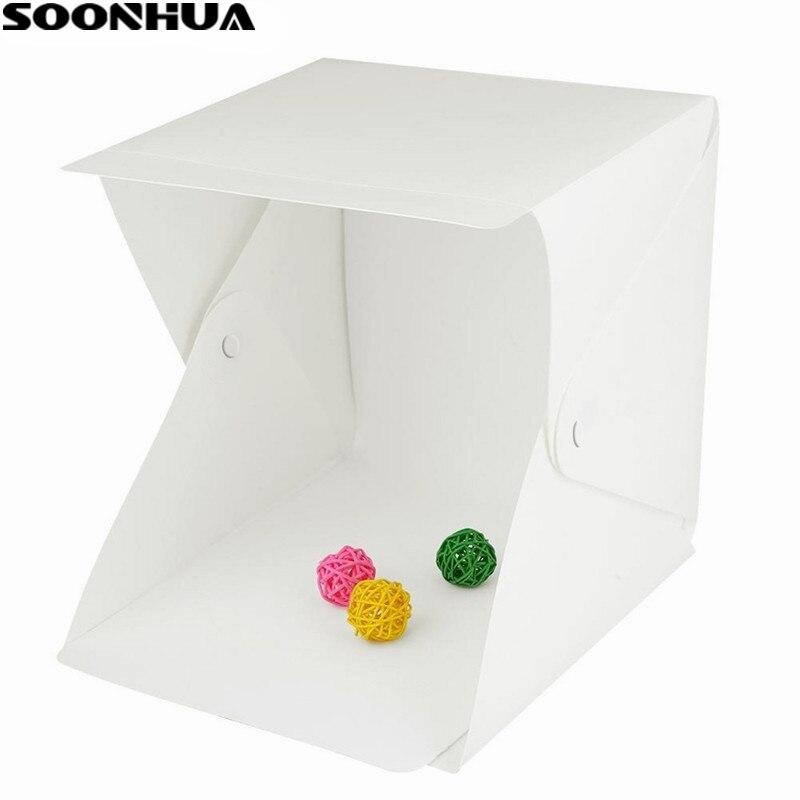 SOONHUA Tragbare Falten Leuchtkasten Fotografie Studio Softbox Mini LED Licht Box Zelt Kit für Telefon DSLR Kamera Foto Hintergrund
