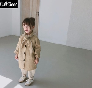 Cultiseed Baby Children Khaki Trench Coat Girls Single Breasted Trench Outerwear Coat with Bow Baby Kids Party Trench Tops