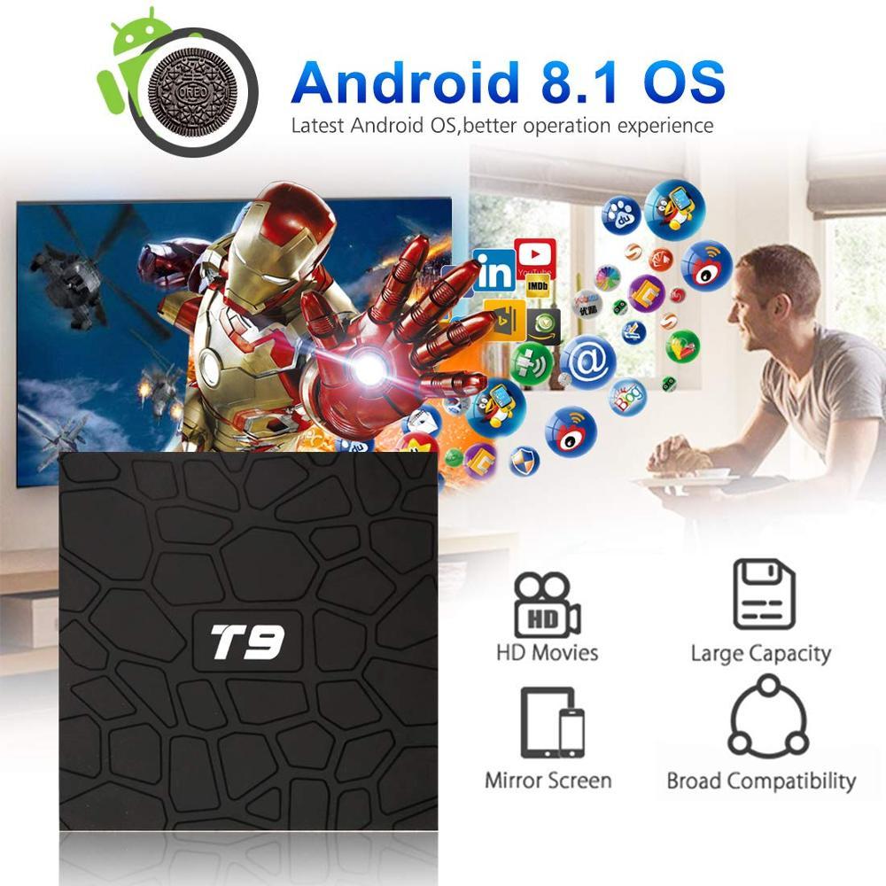 Caja de TV inteligente Android Bluetooth WIFI 2,4G Set-Top Boxes T9 RK3328 Quad-Core 4G/ 32G Android caja de TV inteligente reproductor multimedia IPTV Canadá