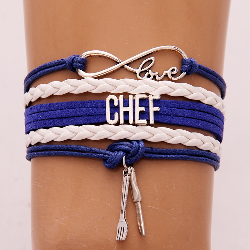 (10 шт./лот) Бесконечность любовь браслет Chef & Браслеты нож и вилка Шарм плетеный кожаный браслет ювелирные изделия для женщин мужчин 6 видов ц...