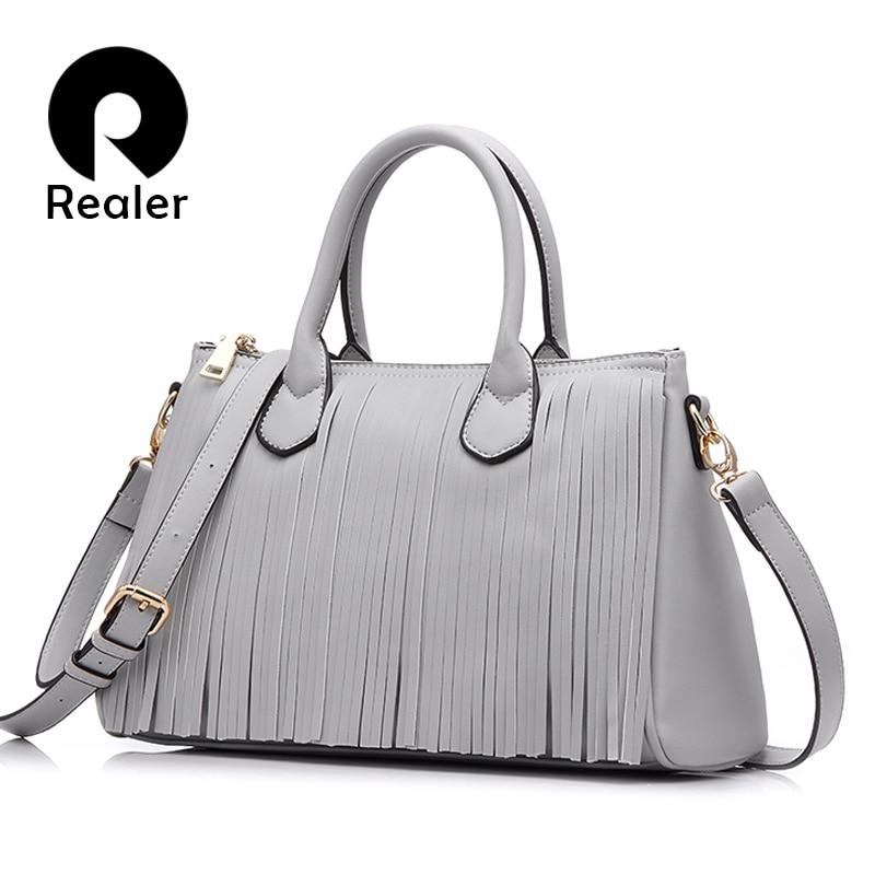 REALER 2019 new brand design women tote with tassel black/gray/white women handbag high quality bag pu leather