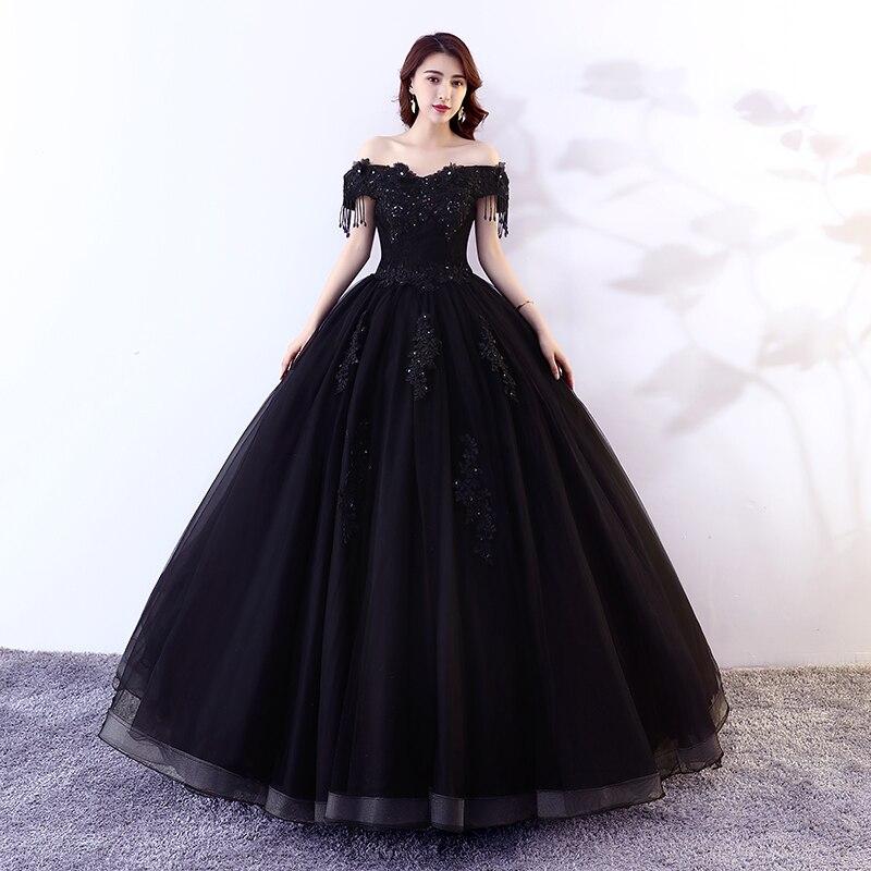 Bling Bling Sequins Sexy Black Quinceanera Dress Boat Neck Vestido De Noche Elegante Girl Debutante Tassel Ball Gowns Sweet 16