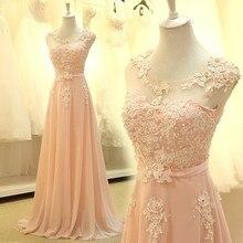 Bridemaid robe vestido longo sexy sho-me 2018 nouveau pas cher rose dentelle robes de demoiselle dhonneur de mariage robe de fête vestido vraies photos