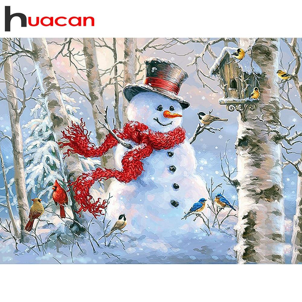 Huacan 5D bordado de diamantes para Navidad cuadro de diamantes cuadrado completo muñeco de nieve mosaico de diamantes de dibujos animados arte de diamantes