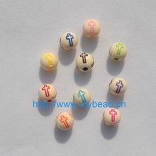 100 pièces bricolage mélange couleur peinture croix perles 8MM forme ronde rétro Bracelet accessoires acrylique perles fabrication de bijoux département