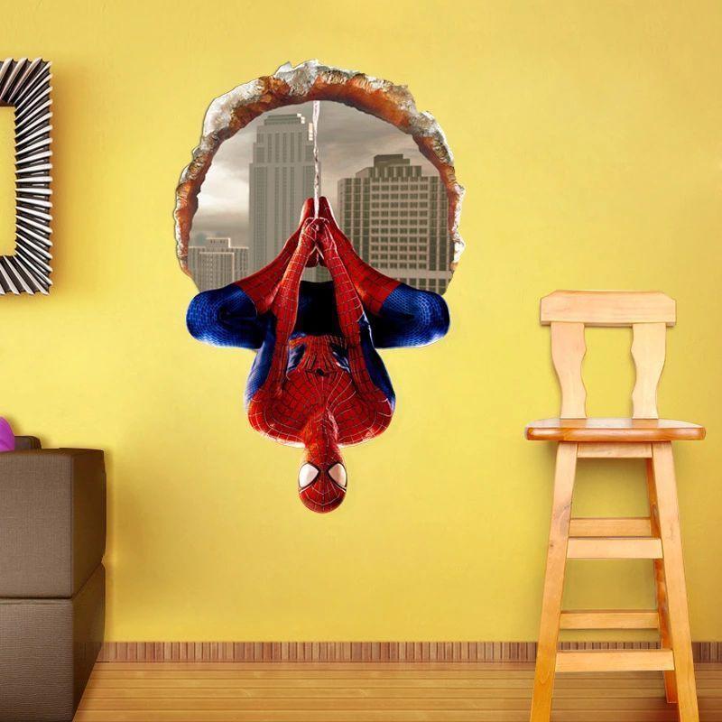 40*60 CM 3D Janelas Spiderman Dos Desenhos Animados Filme HREO casa decalque adesivo de parede para crianças decoração do quarto da criança do menino presentes de aniversário do festival