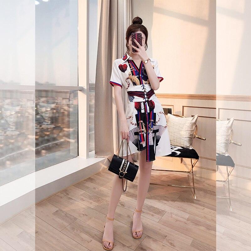 2019 Mini Dress Sexy Print Vintage Single-Breasted Women Short Sashes Turn-Down Collar Night Club Body con Dresses Wholesale
