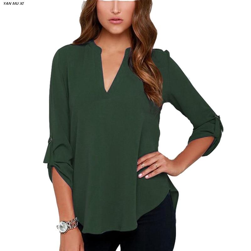 S-5XL Nova marca XI YAN MU 2017 moda cor sólida Irregular hem camisa das senhoras Com Decote Em V manga longa dobrar manga solta camisa chiffon