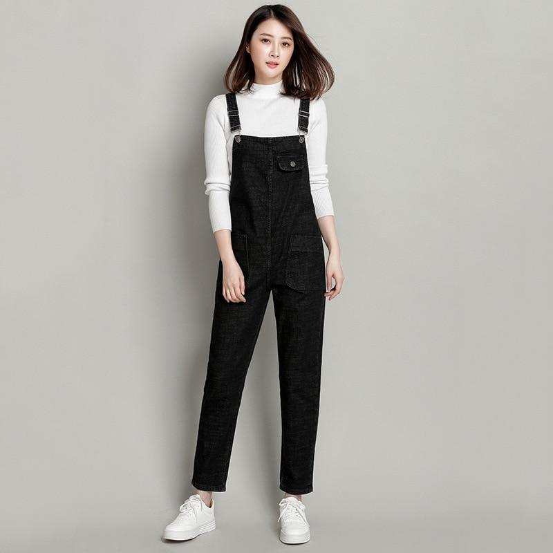 Spring Summer Women Black Denim Jumpsuit Casual Pocket Jeans Romper Female Plus Size 5XL 6XL Adjustable Strap Overalls