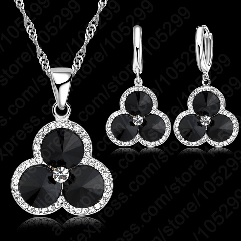 100-925-стерлингового-серебра-Блестящий-Кристалл-cz-лепесток-Форма-ожерелье-черный-камень-кулон-в-виде-капель-с-кристаллами-в-форме-женские-Св