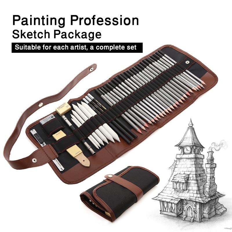 uni 9800 set drawing pencil drawing sketch pencil art wood pencil 27/39pcs Sketch Pencil Set Professional Sketching Drawing Kit Wood Pencil Pencil Bags For Painter School Students Art Supplies