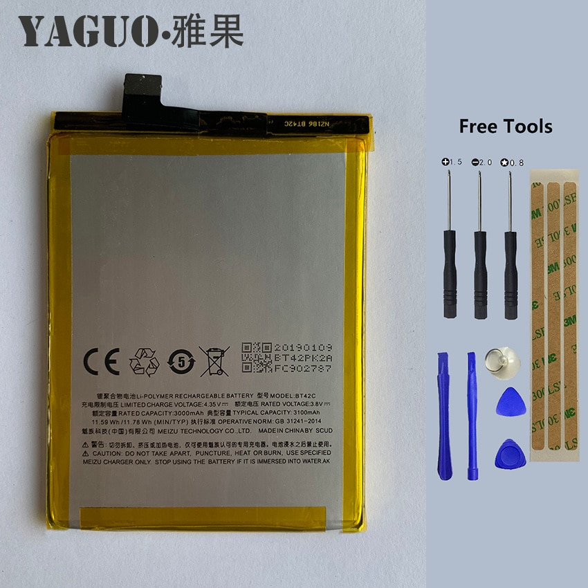 Original Battery BT42C Large Capacity 3050mAh Li-ion Battery Replacement for Meizu M2 Note Smart Phone  + Free Tools