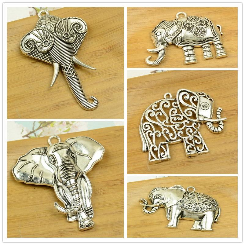 Big size słoń wisiorek urokliwy stop tajlandia hot antique srebrny kształt zwierząt DIY biżuteria akcesoria ustalenia darmowa wysyłka