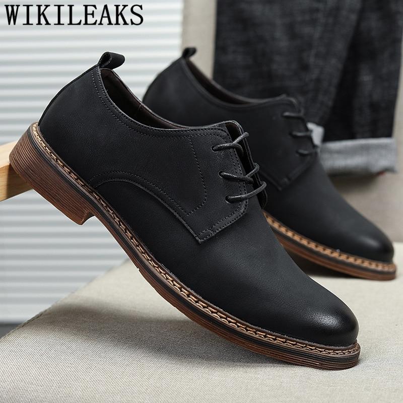 Business Shoes Men Oxford Leather Coiffeur Vintage Shoes Men Classic Luxury Italian Brand Office Shoes Men Formal Buty Meskie