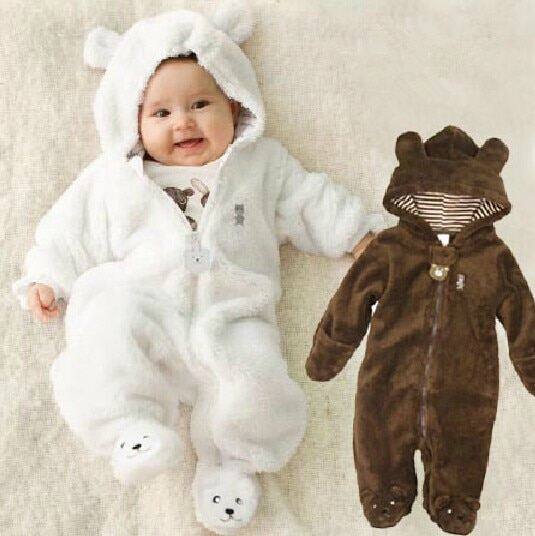 Autumn Winter  Baby Rompers Bear style baby coral fleece brand Hoodies Jumpsuit girls boys romper newborn toddle clothing