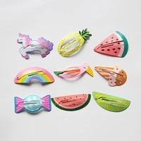resale 6pcs cute girls hair clips lovely unicorn hairpins kid watermelon simple hair clips fruit hairpin animals bb clips resale