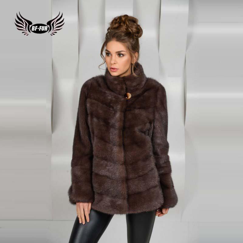 BFFUR Women Clothes 2019 New Arrival Genuine Natural Mink Fur Made Of Full Pelts Real Fur Women Coat Stand Collar Fur Coats Mink