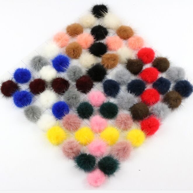 Multicolor DIY Handmade 3cm Real Mink Fur Pom pom For Winter hat Beanie Caps Fur Poms Ball For Cloth