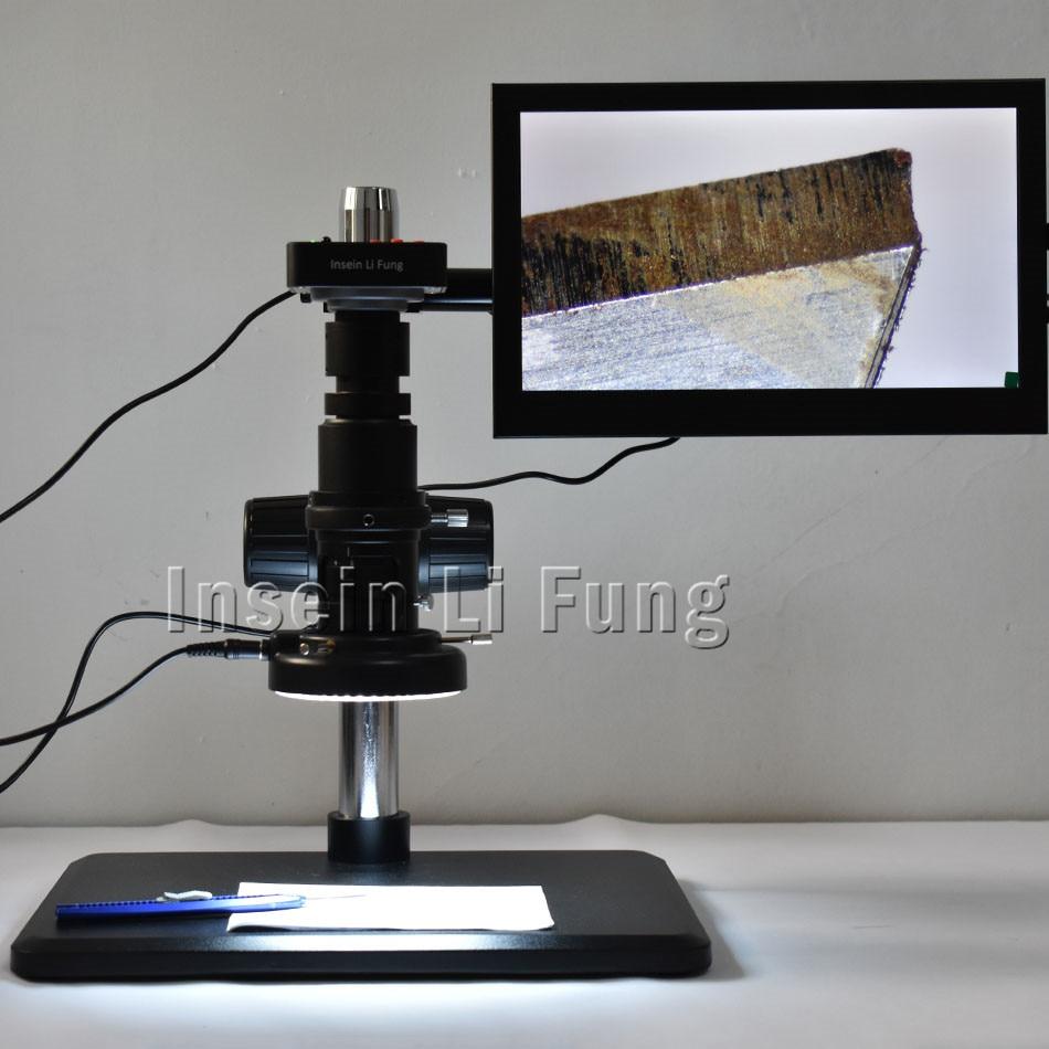 Full HD 38MP 1080P 2K 60FPS HDMI USB Electronic Video Microscope Camera+20X-180X Full Focus Zoom C-Mount Lens+LED Light+Bracket