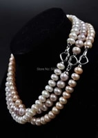 aa 9 5 10mm natural color bread shape pearl necklace free shipping