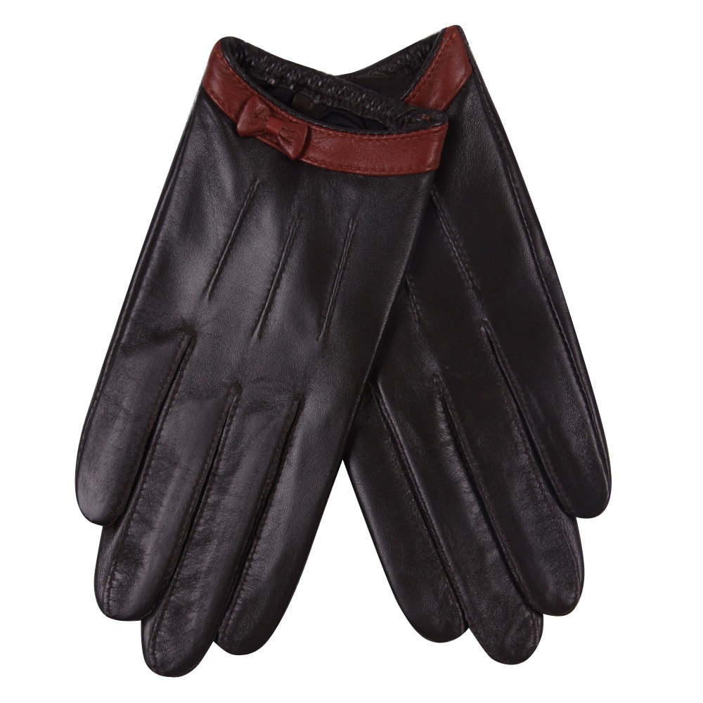Leather Gloves Female Autumn Winter Thin Style Driving Windproof Keep Warm Genuine Sheepskin Woman L18015PN
