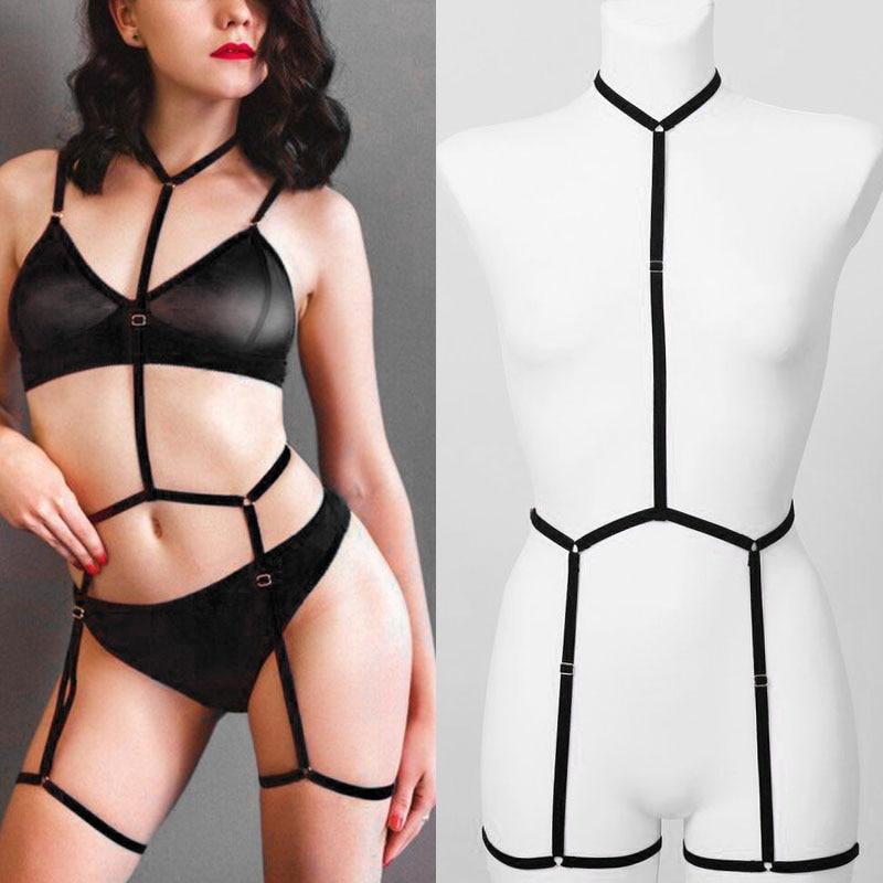 BODY HARNESS Sexy Bondage Lingerie Set Black Halter Elastic Women Harness Harajuku Goth Rave Fetish Pole Dance Dress