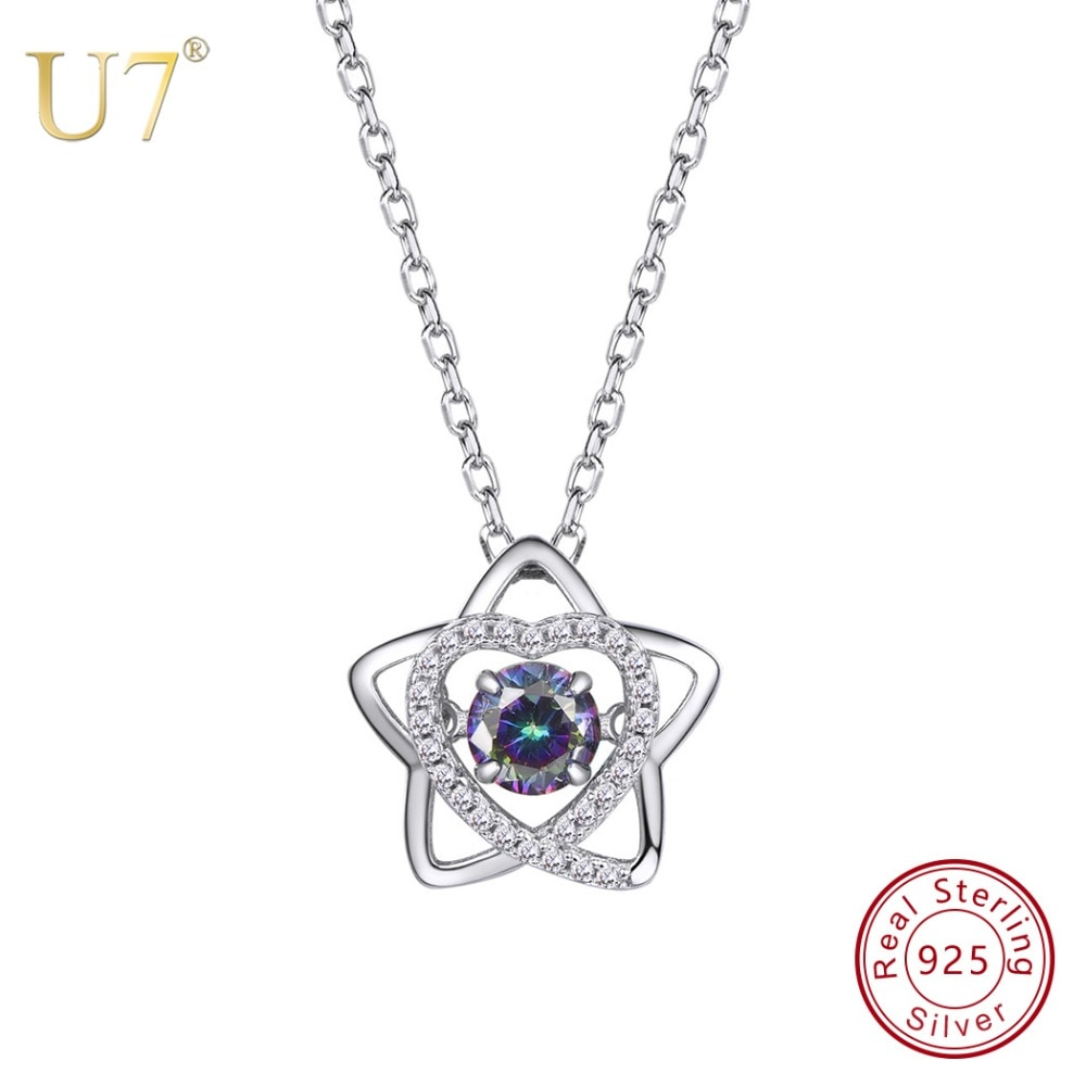 U7 100% de Plata de Ley 925 CZ corazón colgante de estrella y cadena con Gem 2018 del Día de la madre regalo nuevo collar de joyería para mujer SC46