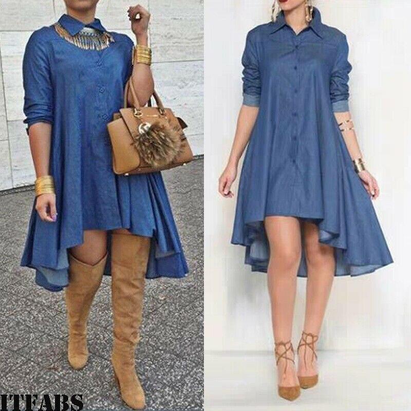 Neue 2019 Sommer Frauen Blau Denim Shirt Damen Langarm Casual Lose Hemd Mini Kleid