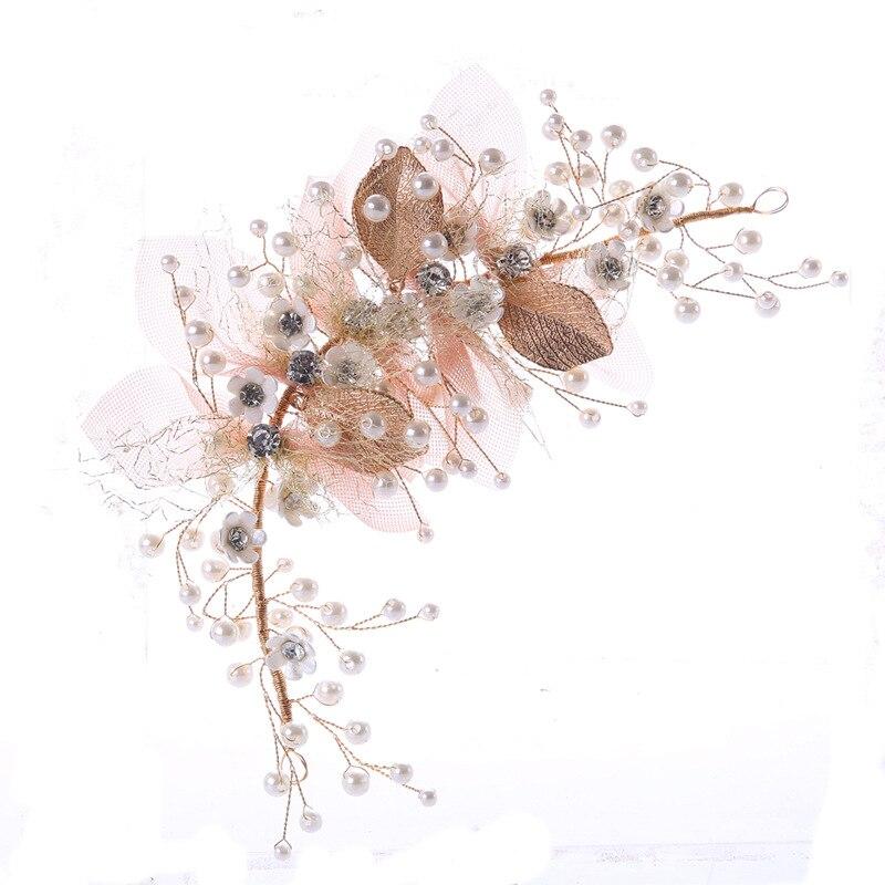 SSYFashion New Flower Headwear for Bride Handmade Light Pink Rhinestone Pearl Inlay Hair Decoration Wedding Accessories
