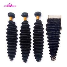 Mèches indiennes naturelles Non Remy-Ali Coco   Cheveux très ondulés, couleur naturelle, 10-30 pouces, avec Closure, lot de 3