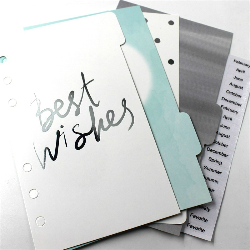 KSCRAFT 6 Holes A6 Sunmer Series Planner Divider Loose Leaf Notebook Spiral Planner Refill Inner Paper Pages