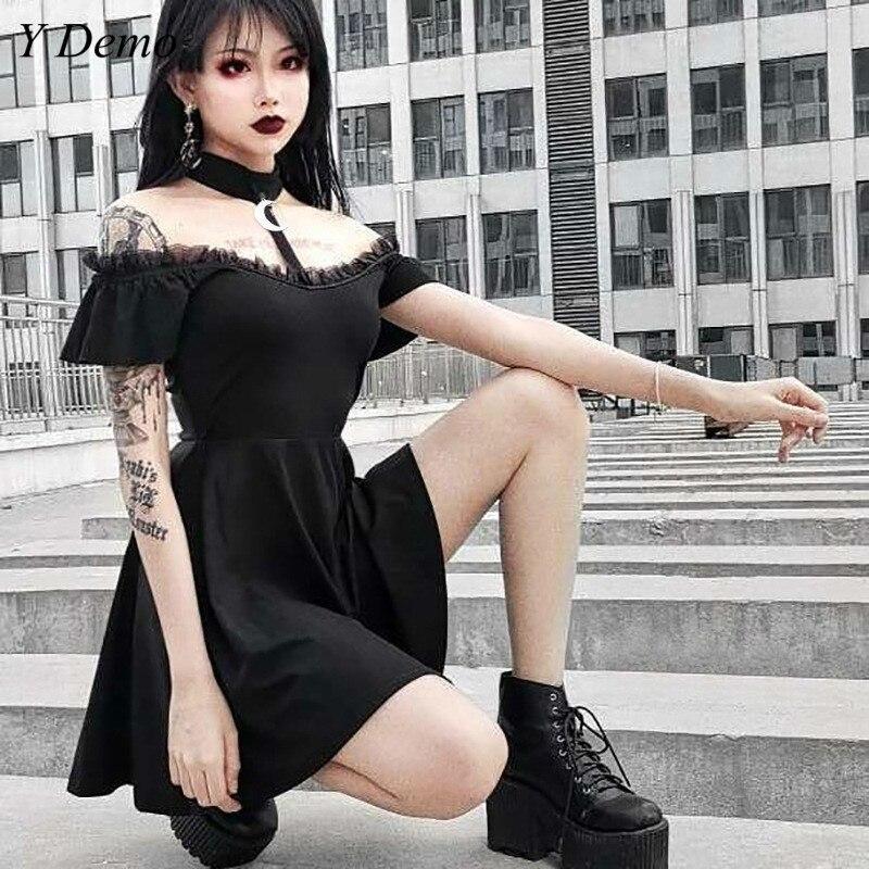 Gótico preto ombro fora sexy vestido feminino verão shoer manga casual vestido fino feminino